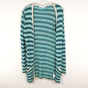Forever 21 | Green Knit Striped Cardigan-E37P